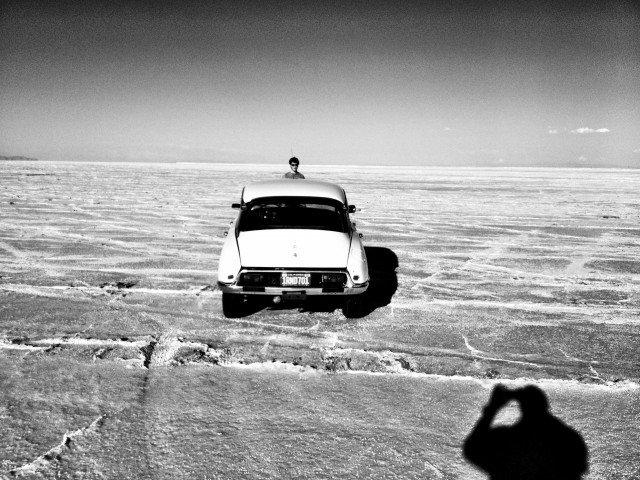Citroen DS on the Bonneville Salt Flats.